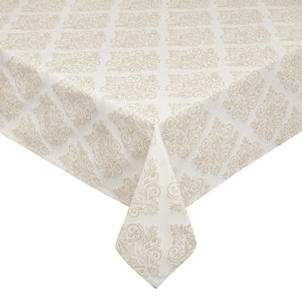 Tablecloth with damask design and lurex inserts