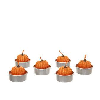 Set of 6 pumpkin-shaped tealights