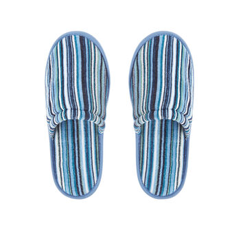 Cotton terry slippers with striped pattern