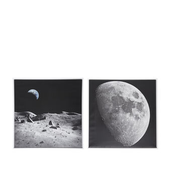 Moon photo print painting