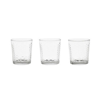 Set of 3 glass tumblers with raised decoration