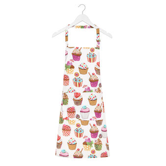 Cotton twill apron with cupcakes print by Sandra Jacobs design