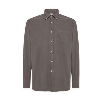 Camicia button-down regular fit in velluto