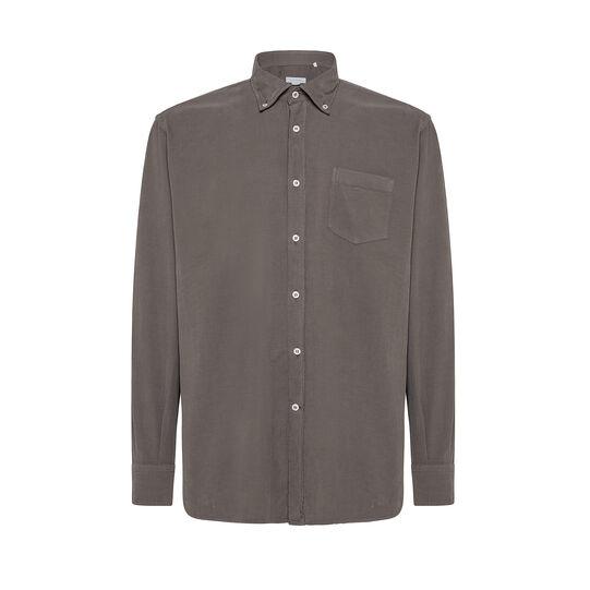 Regular-fit button-down shirt in velvet