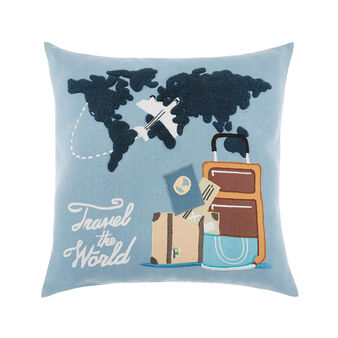 Cotton cushion with Travel the world embroidery 45 x 45 cm