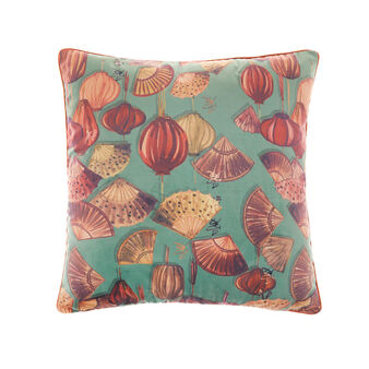 Velvet cushion with fans motif 45x45cm