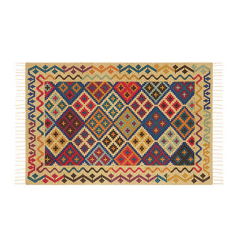 Hand-printed cotton rug with kilim motif