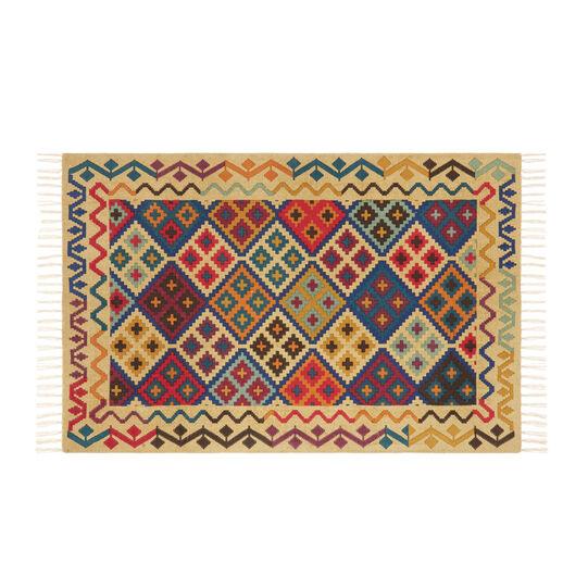 Hand-printed cotton rug with kilim motif