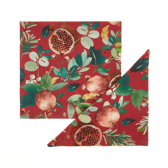 Set of 2 napkins in 100% cotton with pomegranate print