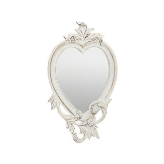 Distressed-effect heart-shaped baroque mirror