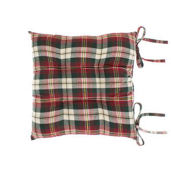 Cuscino da sedia twill di cotone motivo tartan e fili lurex