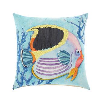 Cuscino con pesce ricamato