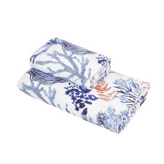 Asciugamano cotone velour stampa coralli