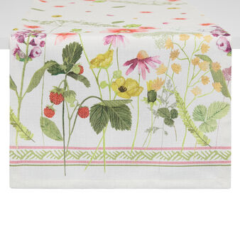 Fabric table runner with strawberry print