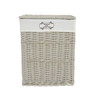Laundry basket in willow wood and cotton