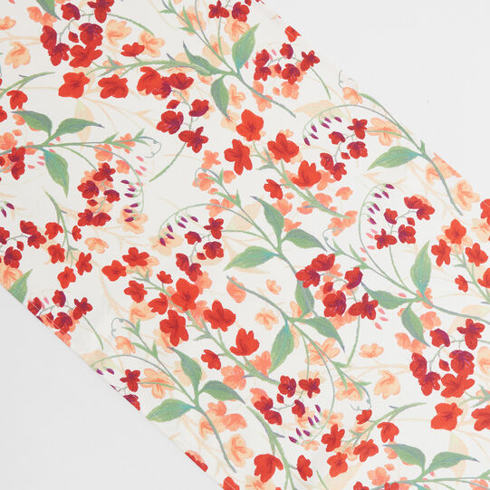 Water-repellent cotton twill table runner with lily-of-the-valley print