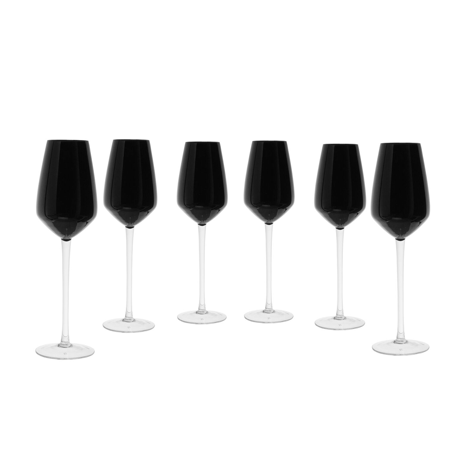Set of 6 flutes in coloured glass