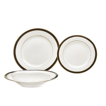 Set 18 piatti New Bone China filo nero