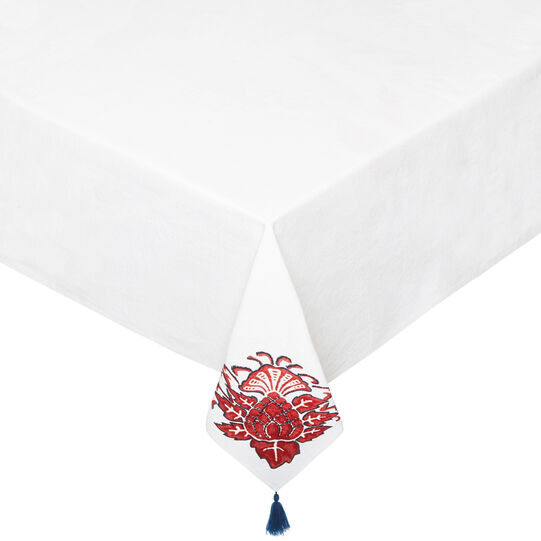 Tablecloth in 100% cotton with embroidery and tassels