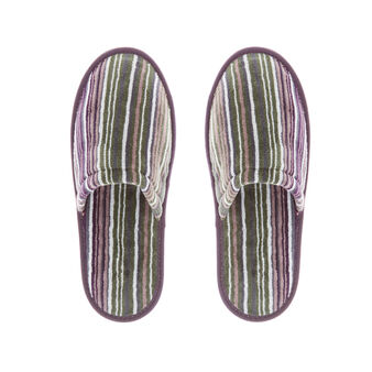 Cotton velour slippers with multicoloured stripes