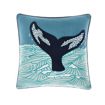 Cotton cushion with whale print 45x45cm