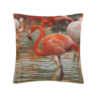 Fleece cushion with flamingo digital print.