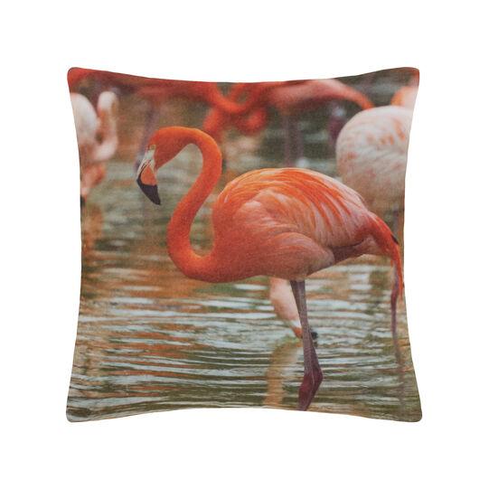 Fleece cushion with flamingo digital print.