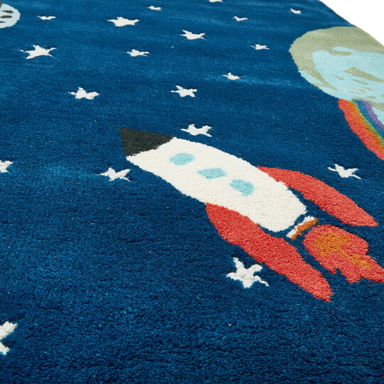 Wool rug with space motif
