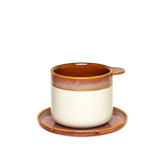 Two-tone decorated stoneware tea cup