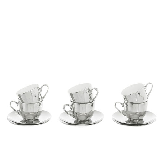 Set of 4 coffee cups in new bone china silver