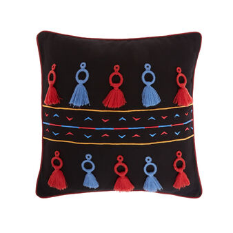 Cotton cushion with tassel application 45 x 45 cm