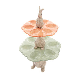 Two-tier ceramic egg holder stand