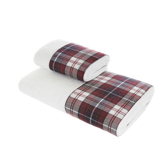 Set of towels with tartan trim