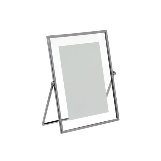 Photo frame in silver-plated metal with stand