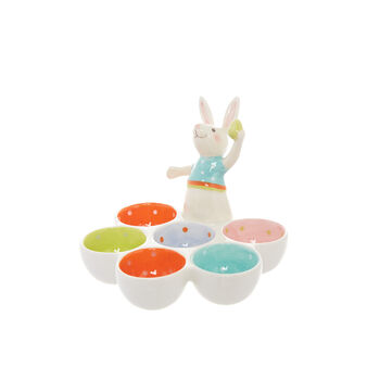 Ceramic rabbit egg holder dish