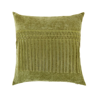 Velvet cushion with fringe 45x45cm
