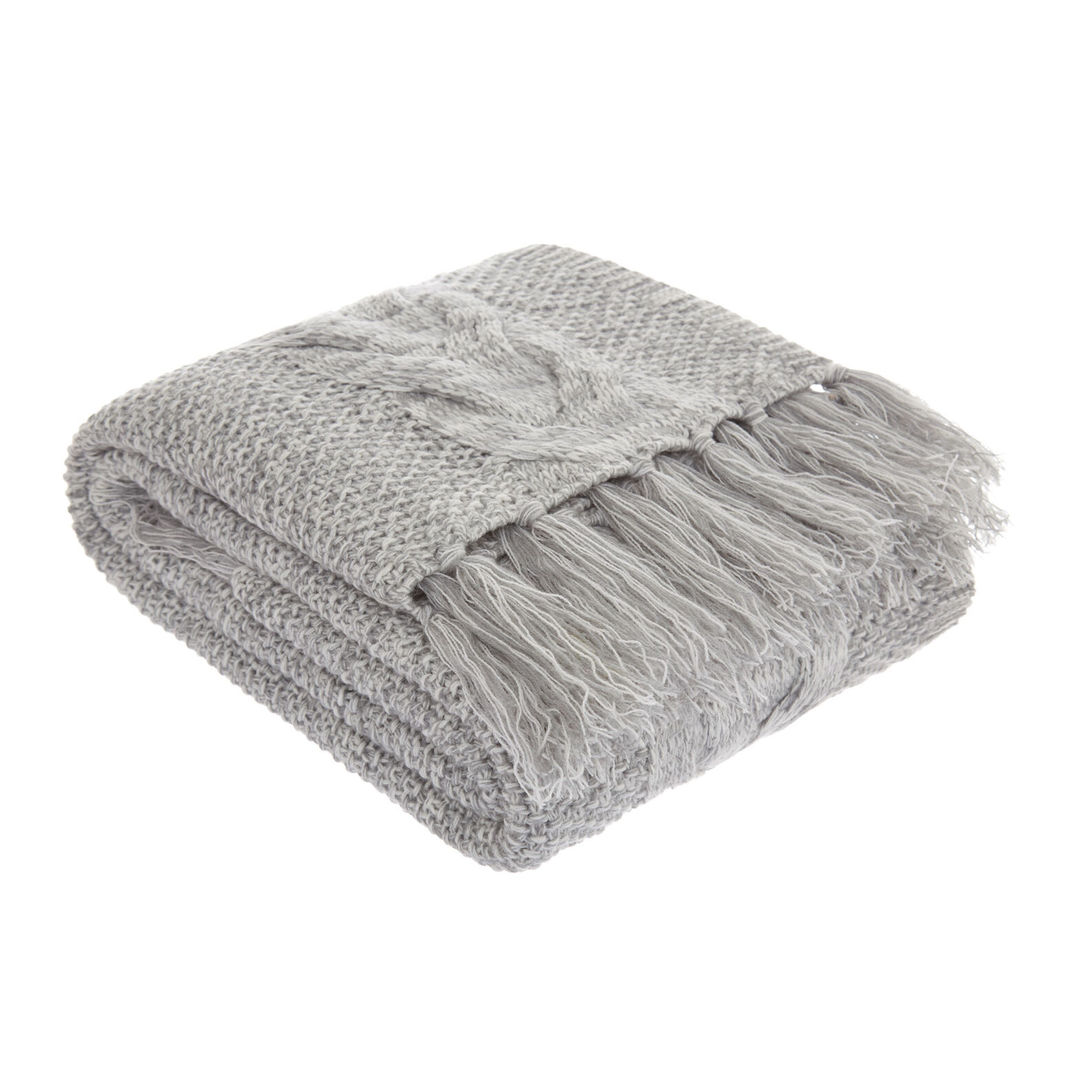 Solid colour cable knit throw