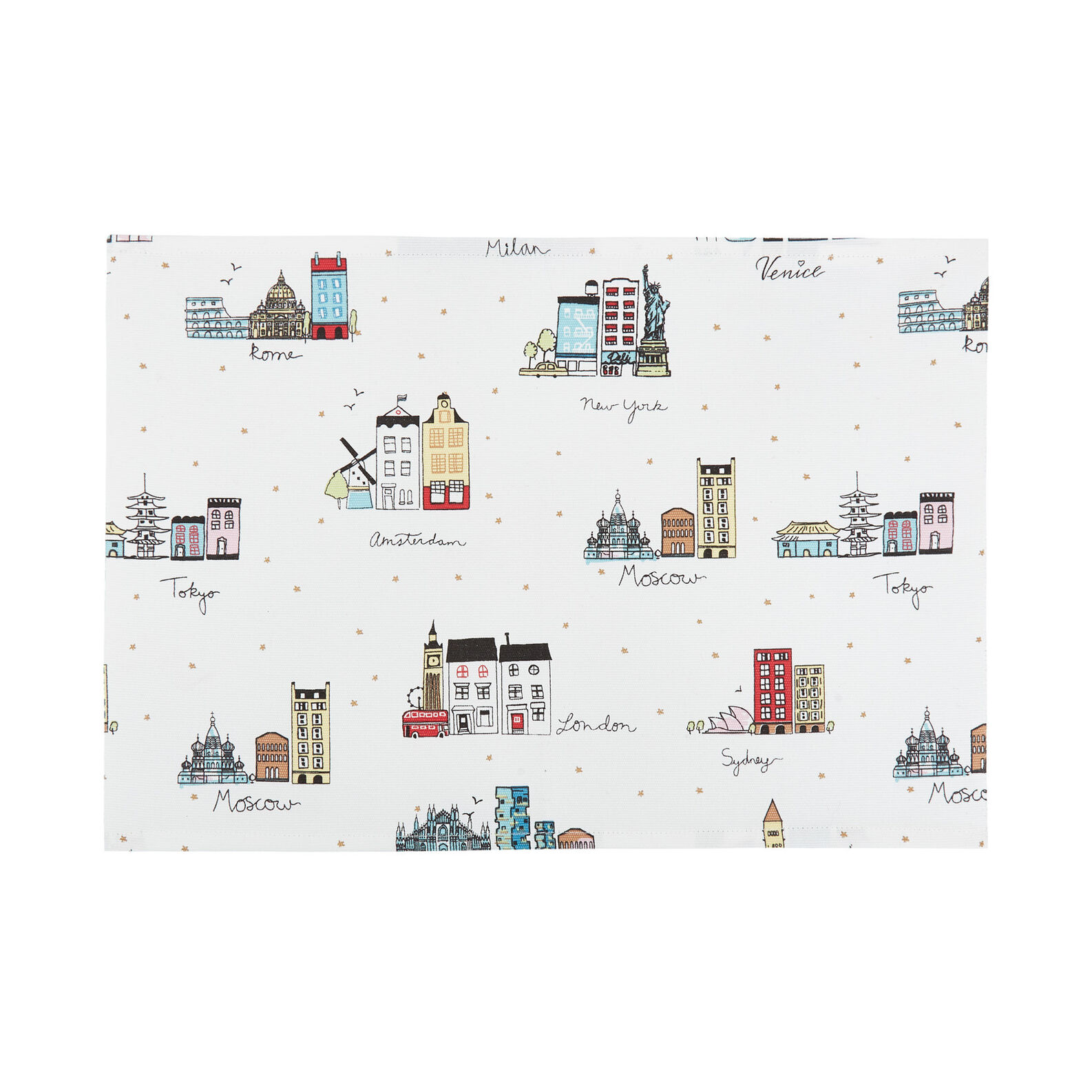 100% cotton table mat with city print