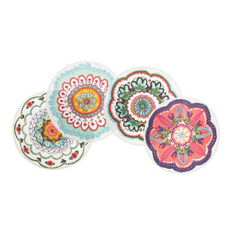 4-pack table mats in 100% cotton with abstract print