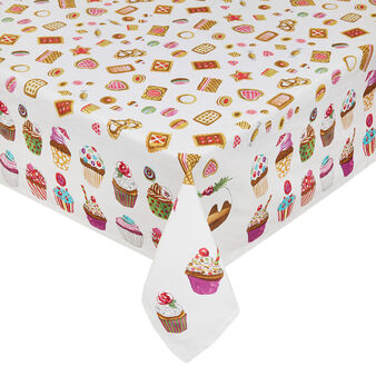 Cotton twill tablecloth with cookies print by Sandra Jacobs design