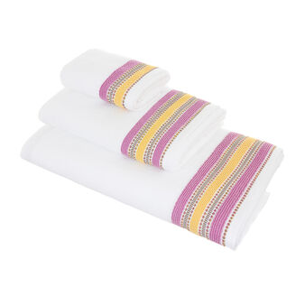 100% cotton towel with striped edging