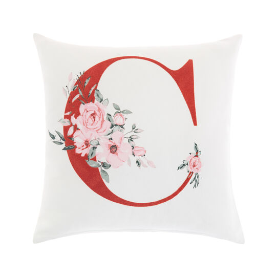 Cotton cushion cover with C print 45x45cm