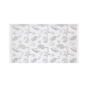 Lightweight cotton beach towel with shells motif