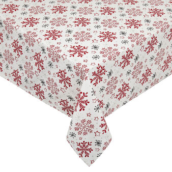 100% cotton tablecloth with snowflakes print