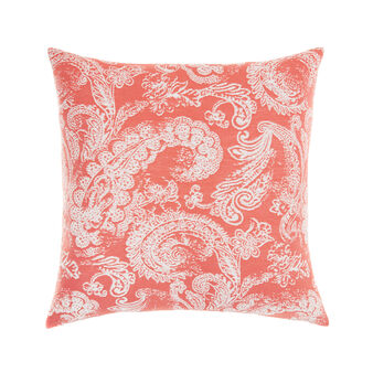 Jacquard cotton cushion with paisley motif