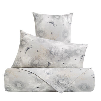 Sun and moon patterned duvet cover set in cotton satin