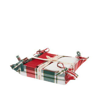 Set of 3 tea towels and basket in 100% cotton