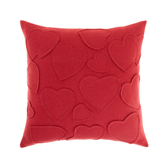 Cushion with embroidered hearts motif 45x45cm