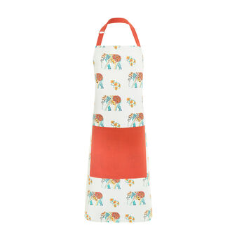 Kitchen apron in 100% cotton with elephants print