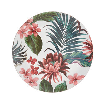 PVC plate charger with tropical leaf decoration.